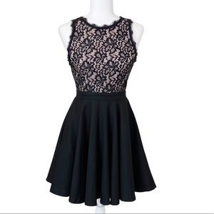 Alya Sleeveless Black Lace Fit and Flare Dress S
